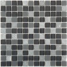 7 8 u0027 u0027 x 7 8 u0027 u0027 black glass and stone square tile glossy frosted gm 302