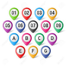 set of map pointers with numbers and letters royalty free cliparts