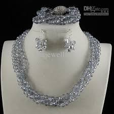 crystal bead necklace jewelry images Classic 3row 6x8mm gray crystal beads necklace bracelet earring jpg