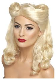 halloween costume blonde wig pin up wig realistic lace front wig