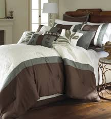 King Size Quilt Sets 8 Piece Embroidered Comforter Set Brown And White