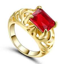 s ring luxury band fashion garnet simple yellow gold filled women s