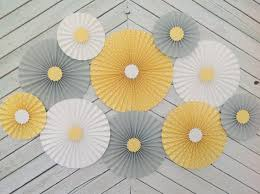 white paper fans set of 10 ten yellow gray and white paper fans rosettes
