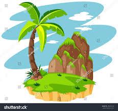 scene coconut tree on island illustration stock vector 480099196