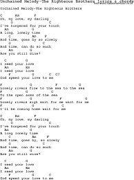 love song lyrics for unchained melody the righteous brothers with