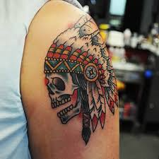 angry indian skull tattoo design image make on upper sleeve for