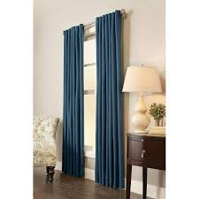 home decorators collection semi opaque indigo fl cottage back tab curtain 54 in w x 84 in l 1 panel 1627861 the home depot