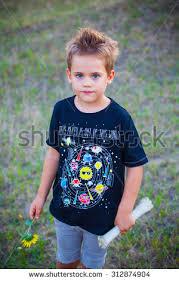 portrait 5 year boy outdoor stock photo 312874904