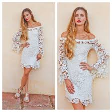 bell sleeve crochet lace dress off shoulder neckline boho