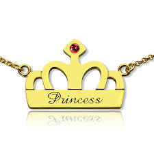 princess necklace images Princess crown charm necklace with birthstone name 18k gold jpg