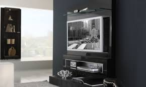 Wall Mounted Living Room Furniture Black Accent Wall With Decorative Wall Mount Tv Design For