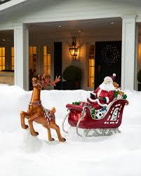 outdoor fiber optic santa in sleigh balsam hill