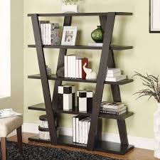 coaster 4 drawer ladder style bookcase modern bookshelf with inverted supports open shelves in cappuccino