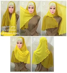 tutorial jilbab dua jilbab cara memakai jilbab shawl sifon dua warna tutorial pinterest
