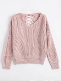 pink sweaters drop shoulder lace up chunky sweater pink sweaters one size