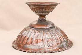 Pedestal Bowls For Centerpieces Copper Flower Bowl Rustic Silver Wash Pedestal Centerpiece For