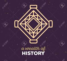vector illustration of ethnic tribal purple color amulet sigh