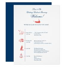 wedding reception itinerary nantucket wedding reception itinerary timeline card zazzle