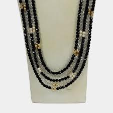 swarovski crystal black necklace images Striking long chanel inspired multi strand swarovski crystal JPG