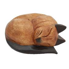wooden cat wooden sleeping cat ashes casket