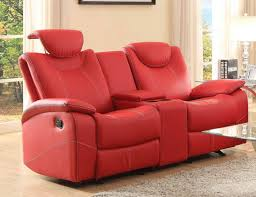 homelegance talbot red bonded leather double glider reclining