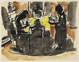 sketch of a family at a meal seated around a table u0027 josef herman