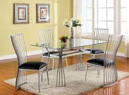 dining room glass top dining table with leaf with beige fabric