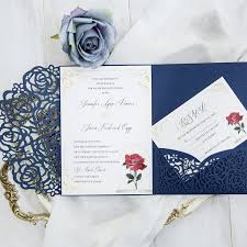 invitation pockets beauty and the beast navy blue laser cut pocket wedding invitation