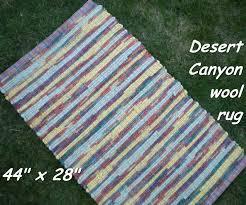 Fabric Rug Handwoven Desert Canyon Thick Wool Fabric Rag Rug 44 X