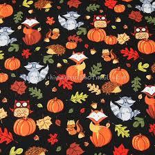 hl027 1 yard cotton poplin fabric thanksgiving day animals and