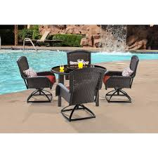 Red Patio Dining Sets - strathmere 5 piece round dining set with four swivel rockers