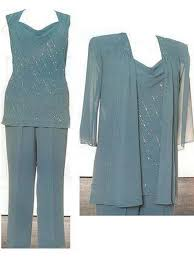 ink blue mother of the bride pant suits chiffon plus size pant