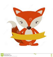 fox ribbon fox icon stock vector image 79899580