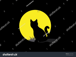 silhouette black cat on moon background stock vector 210197485