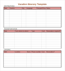 daily itinerary template cris lyfeline co