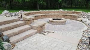 Paver Patios With Fire Pit by Cannon Lake Firepit Patio U0026 Outdoor Kitchen U2013 Ns Landscapes