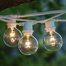 white string lights white cord 100 ft white commercial c9 string light with g50 clear bulbs