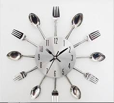 kitchen forks and knives amazon com stainless steel knife and fork clock modern design