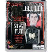 Vampire Teeth Deluxe Theatre Quality Stage Costume Adhesive Vampire Dracula