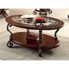 Elegant Glass Coffee Tables Furniture Of America Cohler Elegant Glass Top Oval Coffee Table
