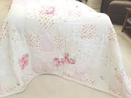 simply shabby chic 100 cotton white u0026 pink rose chenille