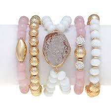 pink beads bracelet images Look trendy and stylish by wearing stretch bracelets bingefashion jpg