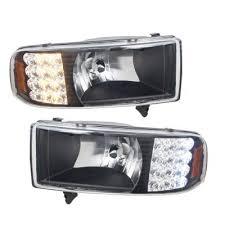 2001 dodge ram headlights dodge ram 1994 2001 black grille and headlights with led corner
