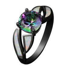 opal rings unique images Black gold plated rainbow cubic zirconia fire opal rings for women jpg