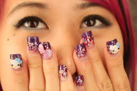 nail art hello kitty beautify themselves with sweet nails