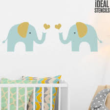 pochoir chambre enfant elephant stencil room nursery wall decor reusable painting