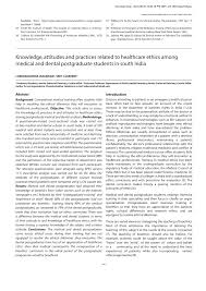 knowledge attitudes and practices related to healthcare ethics