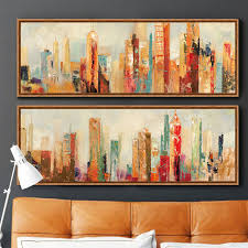 decorative artwork for homes urban architecture modern abstract painting canvas prints wall art