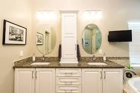 Double Sink Vanities For Small Bathrooms by Bathroom White Bathroom Storage Tower Over Double Sink Vanity
