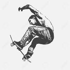 boy jumping on a skateboard graffiti style vector illustration